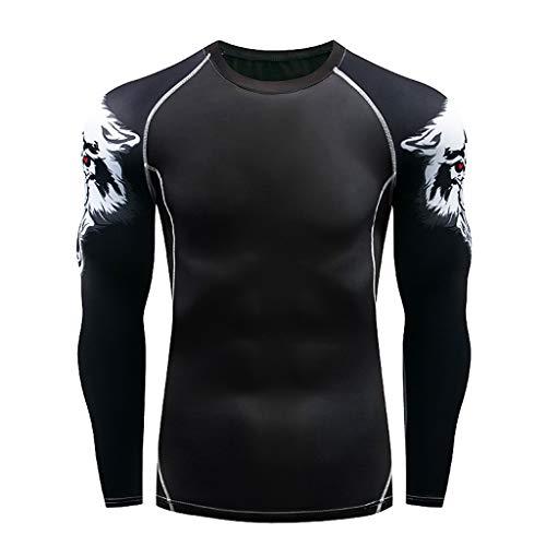 Makefortune Base Layer Top Männer & Jungen Wicking Quick Dry Lightweight Sport Compression T-Shirt Langarm-Shirt für Radfahren Skifahren Laufen Wandern