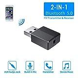 Adattatore Bluetooth USB 5.0,2-in-1 Bluetooth Trasmettitore Ricevitore PC Plug And Play,Adattatore USB Bluetooth con Cavo Audio Digitale da 3,5 mm per PC/Home/Cuffie/TV/Auto