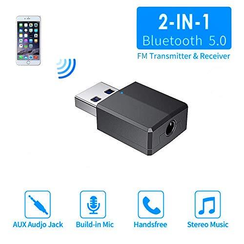 Comter Bluetooth Adapter 5.0 USB Dongle,Transmitter und Empfänger Bluetooth Dongle Stick Adapter 2 in 1 Sender Receiver mit 3,5mm digitales Audiokabel für PC TV Kopfhörer für Zuhause (Pfirsich)