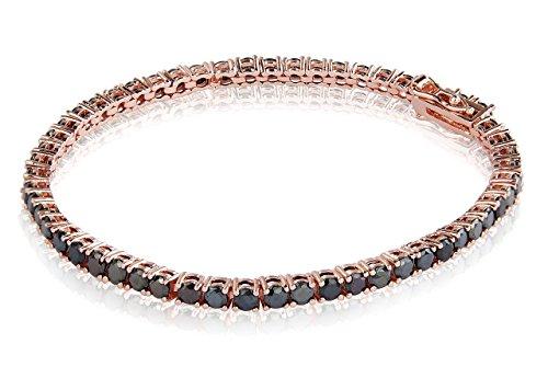 Rose vergoldet Messing CZ Tennis Armband 18,4cm rund geschliffen 3mm