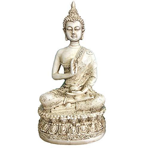 Meditation Buddha-statue (KoHuiJoo Buddha-Statue für Meditation, 15,2 cm hoch, kleine Heimdekoration, thailändische Shakyamuni, Buda-Statuen aus Harz mit Bronze-Finish, Weiß/Blau 3.15 * 2.36 * 6.3inch(L*W*H) weiß)