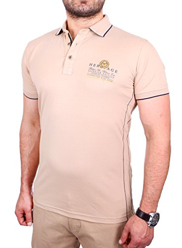Reslad Polo-Shirt Herren Slim Fit Designer Polo-Hemd Kurzarm-Shirt RS-5201 Beige