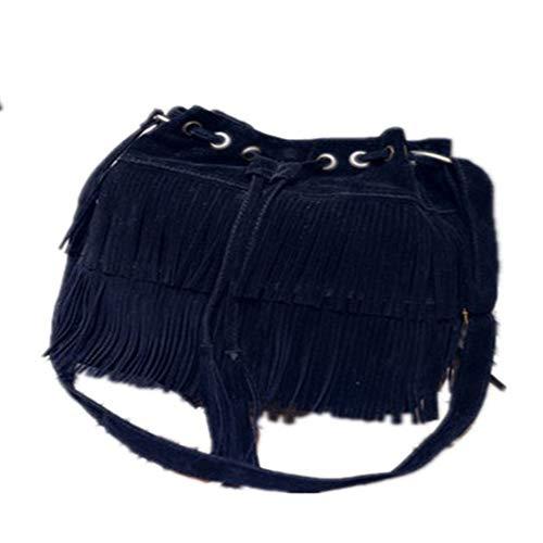 Blue Suede Fringe (BARBEDINGROSE Schultertasche, Crossbody Bag, Tassel Bag, New Handbag Shoulder Bag Retro Faux Suede Tassel Crossbody Bag, Casual Everyday, Female,Blue)