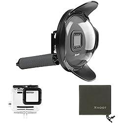 SHOOT Dome Port pour GoPro Hero 7 Noir/Hero 6/ Hero 5/Hero(2018) Camera 6 Pouces de Plongée sous-Marine Imperméable Transparent Dôme Lens Boîtiers étanches Photographie avec Poignée Flottante Grise