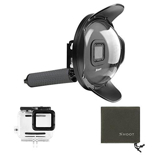 SHOOT Dome Port GoPro Hero 7 Noir/Hero 6/ Hero 5/Hero(2018) Camera 6 Pouces de Plongée sous-Marine Imperméable Transparent Dôme Lens Boîtiers étanches Photographie Poignée Flottante Grise