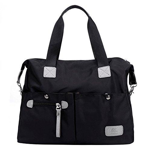 Mit Reißverschluss An Der Rückseite Nylon Tote (PB-SOAR Damen Herren Nylon Wasserdichte Schultertasche Umhängetasche Handtasche Sporttasche Reisetasche (Schwarz))