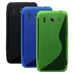 x3 STÜCK Schicke Schutzhülle für Huawei Ascend G510 - Ultra Slim in S-line Schwarz / Blau / Grün von PrimaCase