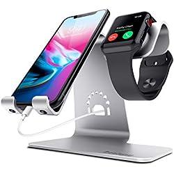Bestand® 2 en 1 Support téléphone portable & tablette et Apple watch chargeur station en Aluminum pour Apple iWatch/ iPhone/ ipad-Argent (Câbles non inclus)