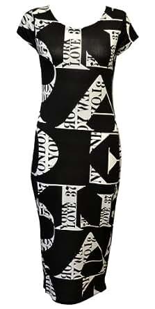 Womens Ladies Skull Print Tshirt Stretch Bodycon Midi Long Dress Dresses 8 10 12 14 (M/L(12-14), London Paris Black & White Print)