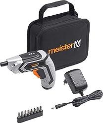 Meister Akkuschrauber 3,6 V, MAS36VL - 1,5 Ah - Mit Textiltasche - LED-Arbeitsleuchte - Ideal zum randnahen Schrauben / Akkuschrauber mit Bit-Satz / Mini-Akkuschrauber / 5450020