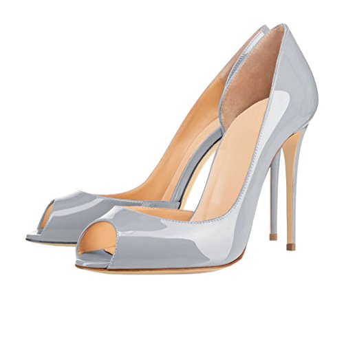 EKS Damen Peep Toe Stilett Schuhe Pumps High Heels Grau