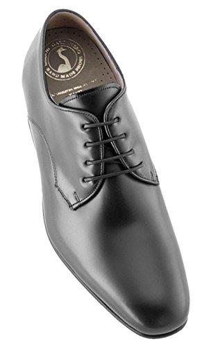 Masaltos scarpe con rialzo da uomo che aumentano l'altezza fino a 7 cm. fabbricate in pelle. modello gala nero 38