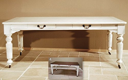 Casa Padrino Vintage Pinien Esstisch Antik Stil Weiß Rustikal Massiv mit Schubladen - Landhaus Stil Tisch Pinienholz, Tisch Abmessungen:200 x 100 cm x 78 cm H