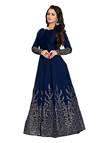 Morang Women's Embroidered Taffeta Silk Bridal Anarkali Semi-Stitched Gown (MM-9830, Blue, Free Size)