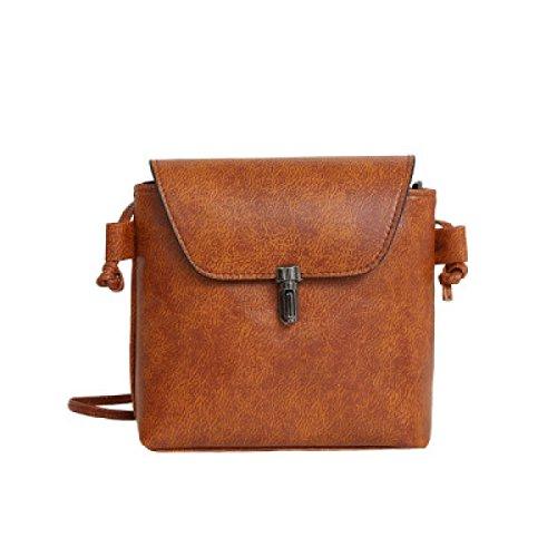 FZHLY Neue Art Und Weise Buckle Bucket Bag Retro-beiläufige Schulter Diagonal-Paket,LightBrown (Buckle Handtasche Satchel)