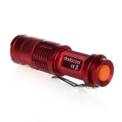 DODOCOOL® Mini 7W 300lm Cree LED Wasserdichte Taschenlampe Einstellbarer Fokus Zoom Licht Lampe Camping Licht AA (ohne Batterien)(Rot) von DODOCOOL - Outdoor Shop