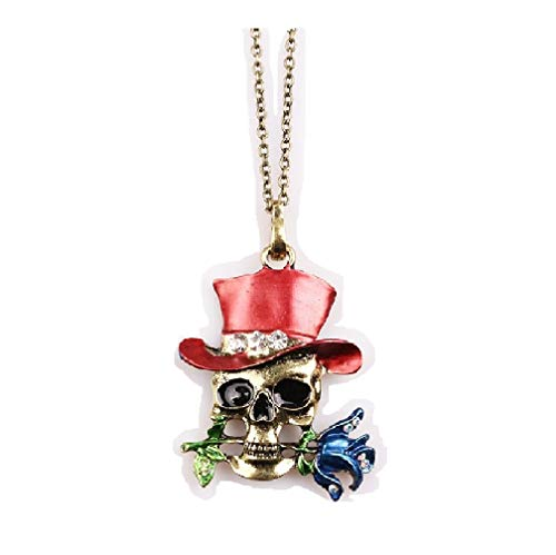 Halloween Sorcerer Skull Exaggerated Necklace Female Magician Rose Necklace Pendant Color-Red