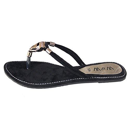 W & W Frauen Damen Abend auf Casual Slip flach Komfort Sandale Schuhe Größe Braun, Schwarz (san534) Schwarz