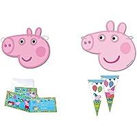 ALMACENESADAN 0483, Pack Invitados Fiestas y Cumpleaños Peppa Pig, 12 caretas, 12 Conos para chuches, 12 Invitaciones con Sobre