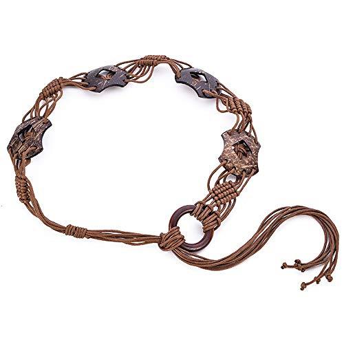 Schlichter Damen Gürtel Frauen ethnischen Wind Holz Schnalle Wachs Seil gewebten Gürtel böhmischen Stil Taille Kette Kleid Zubehör Gürtel, braun, 76-91cm - Metall Gewebten Gürtel