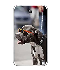 PrintVisa Designer Back Case Cover for Samsung Galaxy Tab 3 P3110 8 INCHES (blackish doggy wearing stylish goggles)