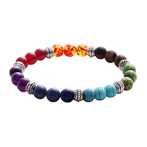 Sonew Pulsera de Cuentas de Lava 7 Chakras Cuerda elástica brazaletes de Pulseras de Cuentas de Yoga de Piedra Natural para Hombres Mujeres