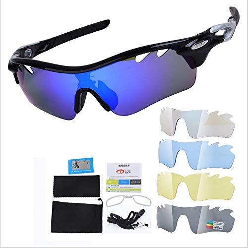 WeiX Polarisierte Sport-Sonnenbrille Uv400 Sportbrille Herren Und Damen Laufen Radfahren Klettern Angeln Fahren Mit 5 Wechselgläsern,E - Oakley Damen Sonnenbrille Laufen