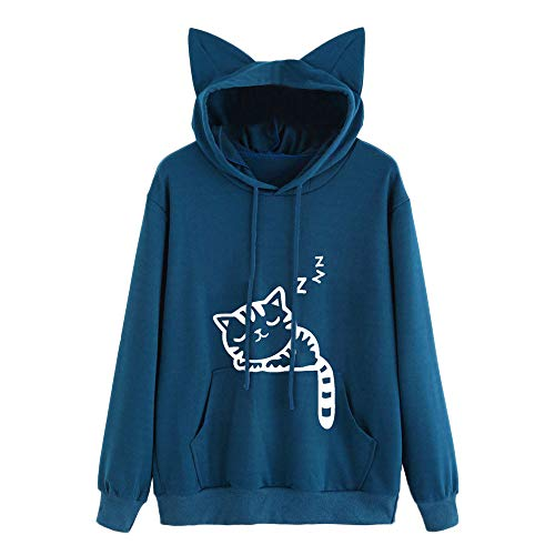 TOPKEAL Katze Long Sleeve Hoodie Pullover Damen Herbst Winter Kapuzenpullover Sweatshirt Winterpullover Jacke Mantel Tops Mode 2019... (Damen Fell Hooded Down Coat)