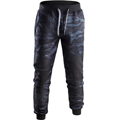 Herren Frühling Camouflage Sporthose Casual Patchwork Hosen Jogginghosen Hose (XL, B)