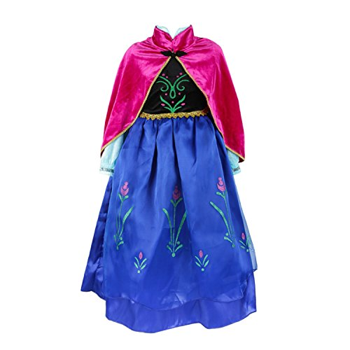 ELSA & ANNA® Ragazze Principessa abiti partito Vestito Costume IT-FBA-ANNA2 (IT-ANNA2, 6-7 Anni)
