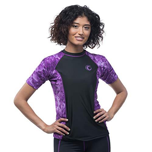 Aqua Design - Camiseta de Manga Corta para Mujer, diseño de Surf de Gran Onda, Ajuste Holgado, para Atletismo, Color Liquid Purple Black, tamaño Small