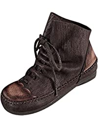Youlee Damen Winter Herbst Vintage Lace-up Martin Stiefel Lederstiefel 296ceb73b2