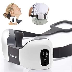Nackenmassage Schulter Smart Massager, ikeepi 3D Nackenmassagegerät, Elektro Cervical Massage Schal, Wireless Nacken Massagegerät für Nacken, Rücken, Ischias, Druck Einstellbar, Portable Design, Weiß