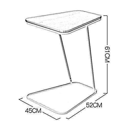 SED Multifunktions Kleine Tabelle Haushalt Snack Home Glas Holz Top Metallrahmen Sofa Side End C Förmigen Schlafzimmer Einfache Studie Tisch,Weiß + Glasscheibe -