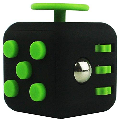 San  Fidget Cube Soulage Anti Stress Diminue le stress et l'anxiété - idéal pour se relaxer et se concentrer anxiété toupie doigt enfants adultes (Noir et vert)