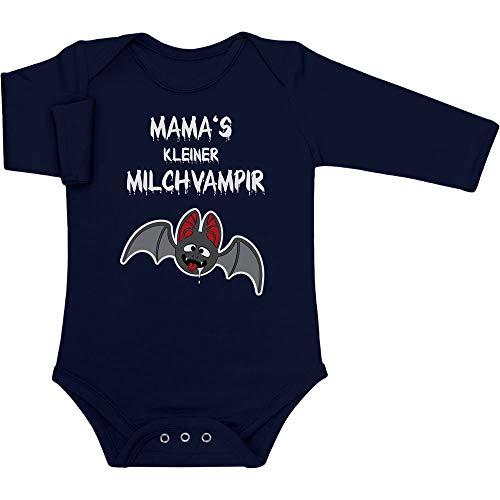 Shirtgeil Halloween Baby Kostüm - Mamas Kleiner Milchvampir Baby Langarm Body 62/68 (3-6M) Marineblau (Baby Mama Kostüm)