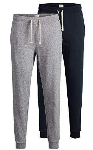 JACK & JONES 2er Pack Set Herren Jogginghosen Sweatpants aus 100% Baumwolle schwarz, blau, grau, dunkelgrau mit Bündchen lang Slim Fit Gratis Wäschenetz von B46 (2er Pack Mix 3, M)