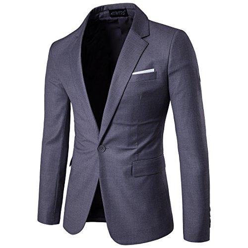 Herren Anzug Jacke Sakko Slim Fit Blazer Business Freizeit Smoking Hochzeit Einfarbig von Harrms, 10 Farben, Grösse 46-56, Dunkelgrau, EU 54 - Etikett 5XL