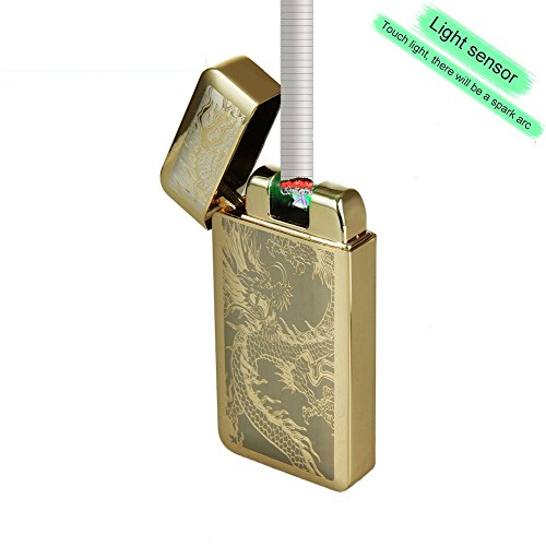 Fotoeléctrico sensores Mechero, sun-lighter ® Eléctrico Doble arco pulso encendedor de cigarros batería sin llama resistente al viento Mechero con cable USB, dragón chino doble arco vela mechero, dorado