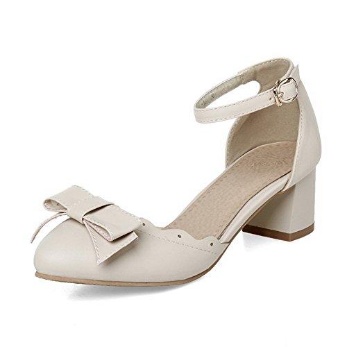 AllhqFashion Femme Couleurs Mélangées Matière Souple à Talon Bas Lacet Rond Chaussures Légeres Blanc