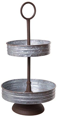 Vintage Barnyard Stil verzinktem Metall Zwei Etagen Annabeth Serviertablett stehen für Vorspeisen, Desserts, Cupcakes-Große für Hochzeiten, Urlaub, Geburtstag Partys, Home Dekoration (Rustikale Cupcake Stand)
