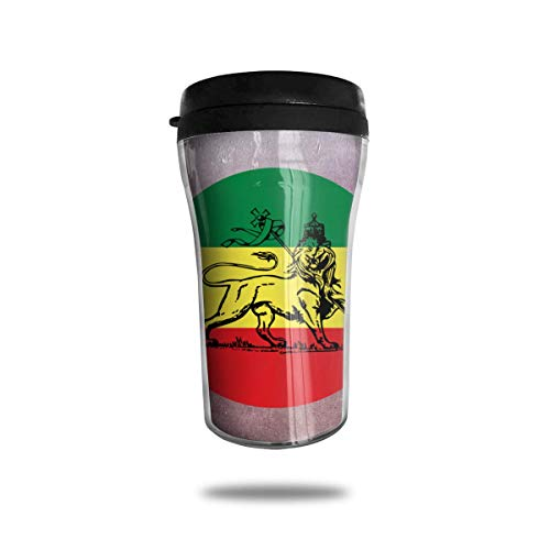 Print Insulated Travel Mug (Bgejkos Rasta Lion Judah Ethiopian Flag 8.45oz Coffee Mugs Birthday Gifts Insulated Travel Mug Leakproof)