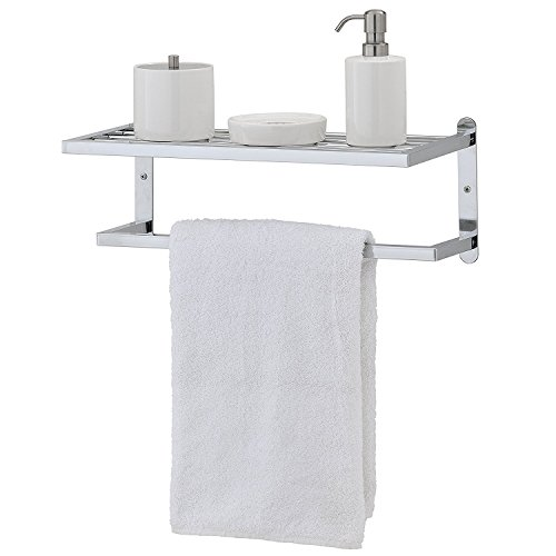 Moderne Chrom vergoldet Wand montiert Badezimmer Ablage & Handtuch Rack Bar-MyGift (Square-eisen-wand-dekor)
