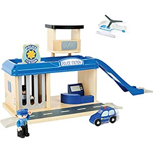 small foot 10797 Police station with accessories, including a policeman, robber, helicopter and car, from 3 years   4