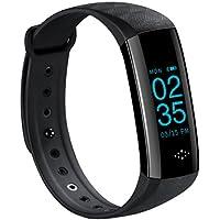 Fitness Tracker Smart Uhr mit Herzschlag Monitor Schwarz Schritt Tracker Kalorienzähler Aktivitätstracker Armband Wasserdicht Activity Tracker Schrittzähler für IOS Android (Black)