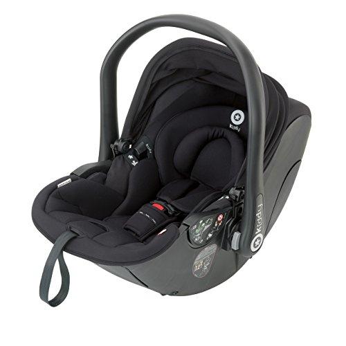Kiddy 41930EL077 Evolunafix Babyschale mit patentierter Liegefunktion, Isofix-fähig, inklusive Isofix Base 2, Gruppe 0+ (Geburt-13 kg, Geburt-ca. 15 Monate), Racing Black (schwarz)