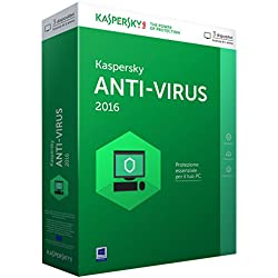 Kaspersky KL1167TBCFS Antivirus 2016, 3 Utenti, 1 Anno, Verde