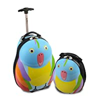 Skykidz Parrot Polycarbonate Trolley Suitcase with FREE Matching Backpack