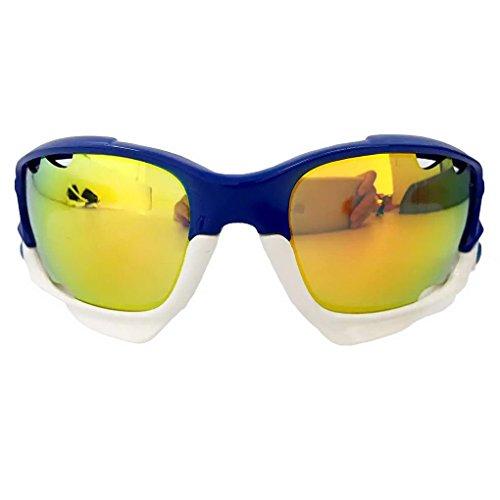 Panegy Sportbrillen für Outdoor Sports Radsport Fahren Bergsteigen mit 3 Paar Wechselgläsern Augenschutz - Königblau Weiß
