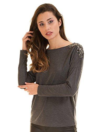 Only Damen Shirt Langarm Anthrazit